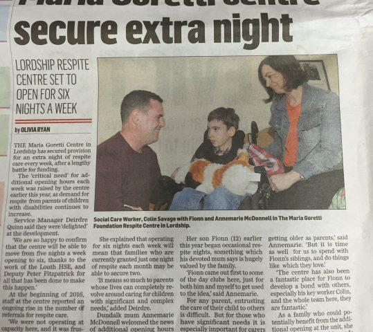Maria Goretti Centre secure extra night!!!
